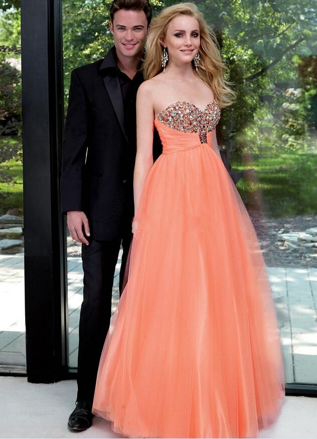 pretty orange prom dressessweetheart prom dressformal
